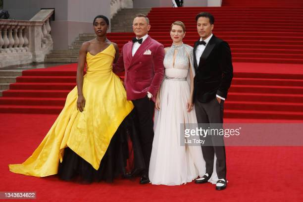 "Lashana Lynch, Daniel Craig, Léa Seydoux and Cary Joji Fukunaga attend the ""No Time To Die"" World Premiere at Royal Albert Hall on September 28, 2021..."
