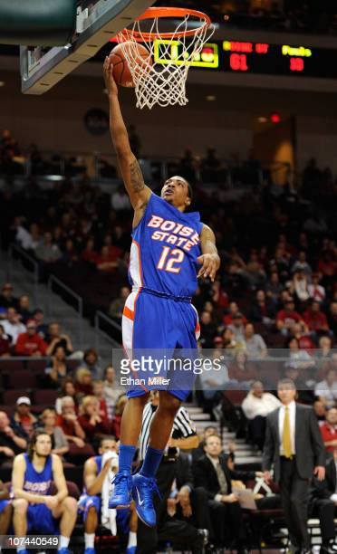 La'Shard Anderson of the Boise State Broncos scores on a layup against the UNLV Rebels during their game at The Orleans Arena December 8 2010 in Las...