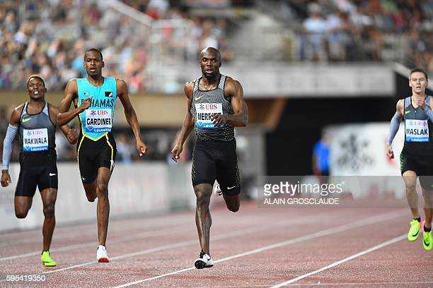 US Lashawn Merritt competes in the 400m men during the Diamond League Athletics meeting 'Athletissima' on August 25 2016 in Lausanne / AFP / ALAIN...