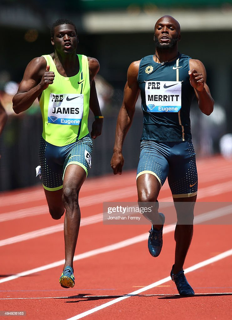 Lashawn Merritt of the United States and Kirani James of Grenada run in the 400m during day 2 of the IAAF Diamond League Nike Prefontaine Classic on May 31, 2014 at the Hayward Field in Eugene, Oregon.