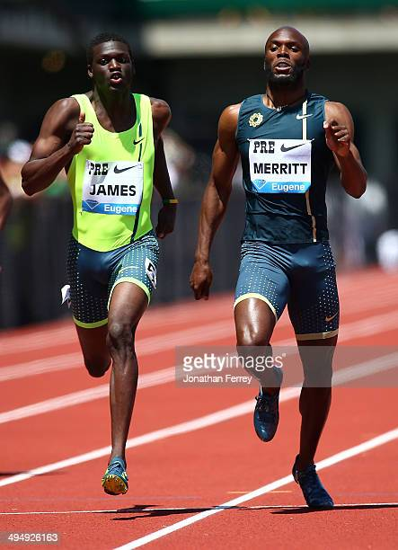 Lashawn Merritt of the United States and Kirani James of Grenada run in the 400m during day 2 of the IAAF Diamond League Nike Prefontaine Classic on...
