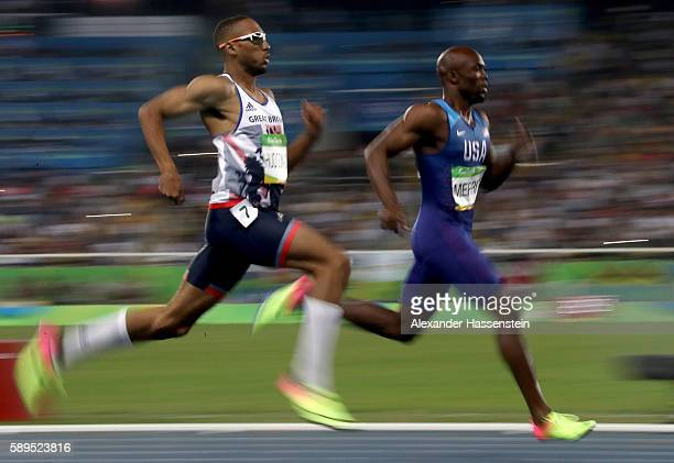 Lashawn Merritt of the United States and Matthew HudsonSmith of Great Britain compete in the Men's 400 meter final on Day 9 of the Rio 2016 Olympic...