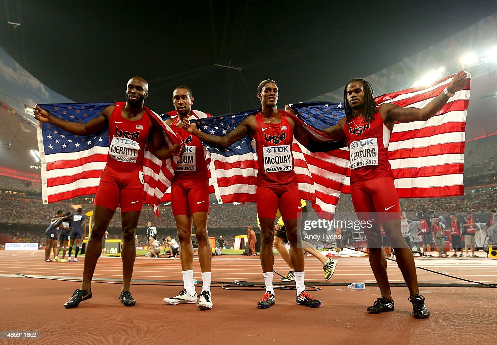 Lashawn Merritt of the United States, Bryshon Nellum of the United States, Tony McQuay of the United States and David Verburg of the United States celebrate after winning gold in the Men's 4x400 Relay Final during day nine of the 15th IAAF World Athletics Championships Beijing 2015 at Beijing National Stadium on August 30, 2015 in Beijing, China.