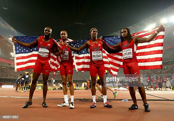 Lashawn Merritt of the United States Bryshon Nellum of the United States Tony McQuay of the United States and David Verburg of the United States...