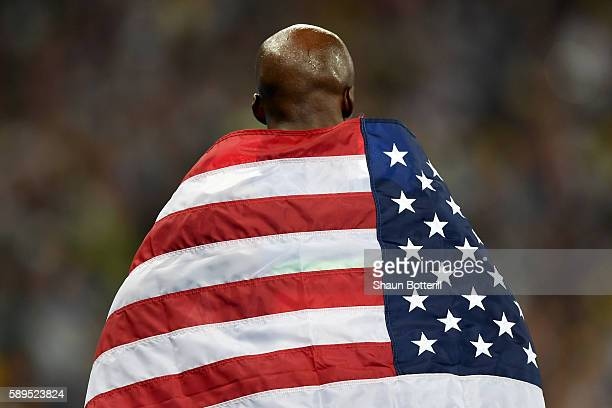 Lashawn Merritt of the United States celebrates placing third in the Men's 400 meter final on Day 9 of the Rio 2016 Olympic Games at the Olympic...