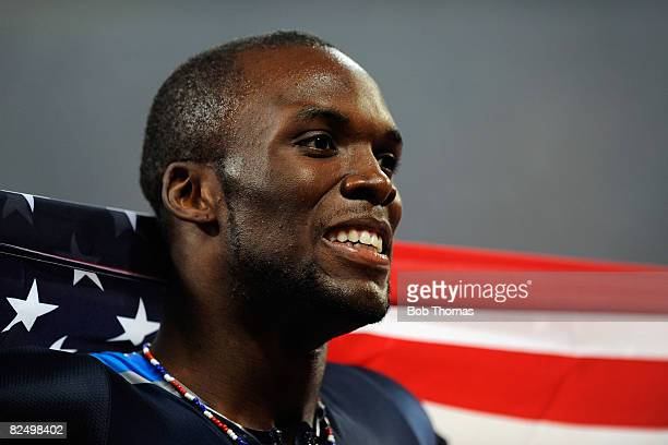 LaShawn Merritt of the United States celebrates winning the Men's 400m Final and the gold medal held at the National Stadium during Day 13 of the...