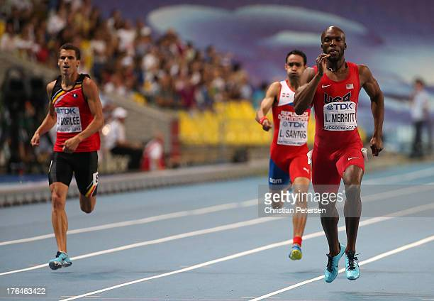 LaShawn Merritt of the United States competes in the Men's 400 metres final during Day Four of the 14th IAAF World Athletics Championships Moscow...