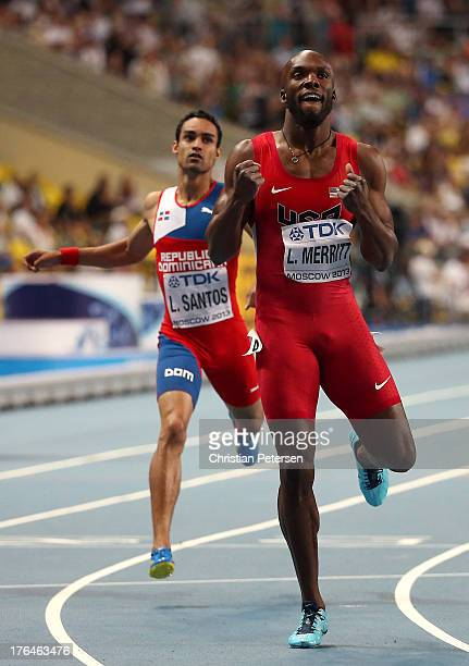 LaShawn Merritt of the United States crosses the line to win gold in the Men's 400 metres final during Day Four of the 14th IAAF World Athletics...