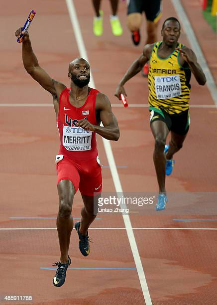 Lashawn Merritt of the United States crosses the line to win gold in the Men's 4x400 Relay Final during day nine of the 15th IAAF World Athletics...