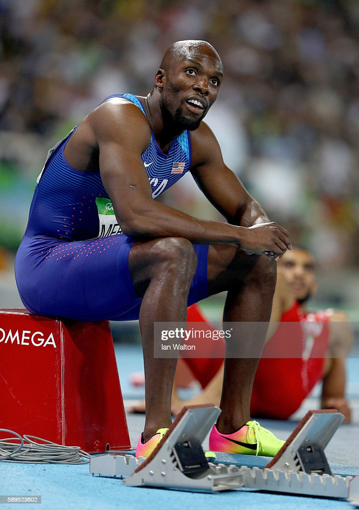 Lashawn Merritt of the United States reacts after placing third in the Men's 400 meter final on Day 9 of the Rio 2016 Olympic Games at the Olympic Stadium on August 14, 2016 in Rio de Janeiro, Brazil.
