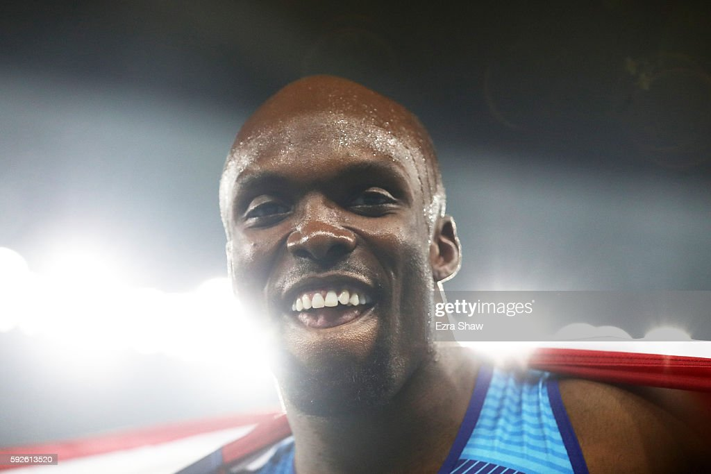 Lashawn Merritt of the United States reacts after winning gold in the Men's 4 x 400 meter Relay on Day 15 of the Rio 2016 Olympic Games at the Olympic Stadium on August 20, 2016 in Rio de Janeiro, Brazil.