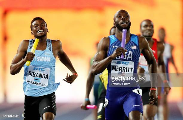 LaShawn Merritt of the USA and Karabo Sibanda of Botswana run to the finishline in the Men's 4x400 Metres Relay Final during the IAAF/BTC World...