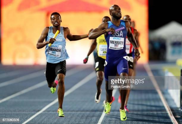 LaShawn Merritt of the USA and Karabo Sibanda of Botswana run to the finishline in the Men's 4x400 Metres Relay Final during the IAAF/BTC World...