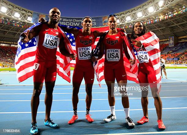 LaShawn MerrittTony McQuay Arman Hall and David Verburg of the United States celebrate winning gold in the Men's 4x400 metres relay final during Day...