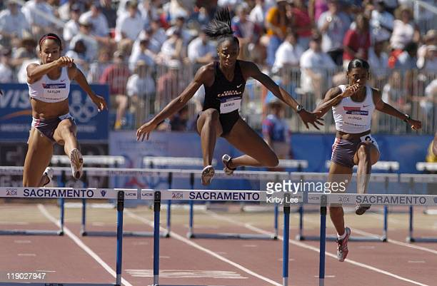 Lashinda Demus clears the final hurdle in the women's 400meter hurdles in the US Olympic Track Field Trials at Cal State Sacramento's Hornet Stadium...
