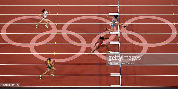 Lashinda Demus of the United States and Natalya Antyukh of Russia lead the field in the Women's 400m Hurdles Final on Day 12 of the London 2012...