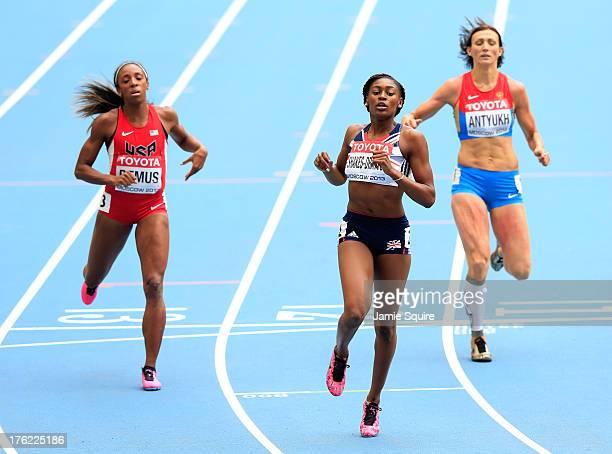 Lashinda Demus of the United States Perri ShakesDrayton of Great Britain and Natalya Antyukh of Russia competes in the Women's 400 metres hurdles...