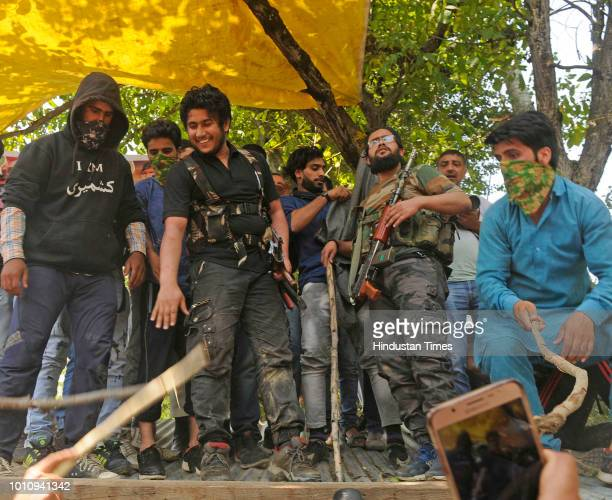 LashkareTaiba Militant Naveed Jhatt during the funeral procession of two Militants in Malikgund after they were killed in an encounter with security...