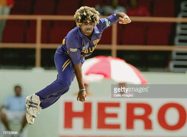Lasith Malinga bowling during the ICC Cricket World Cup Super Eights match between South Africa and Sri Lanka at the Guyana National Stadium on March...