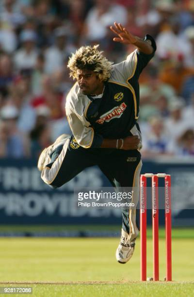 Lasith Malinga bowling for Kent during the Twenty20 Cup Final between Gloucestershire and Kent at Edgbaston Birmingham 4th August 2007 Kent won the...