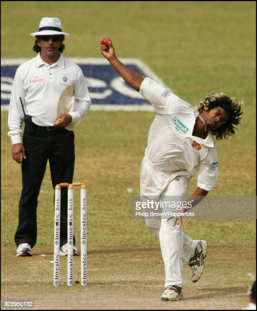 Lasith Malinga bowling for Sri Lanka during the 1st Test match between Sri Lanka and England at Asgiriya Stadium Kandy 5th December 2007 The umpire...
