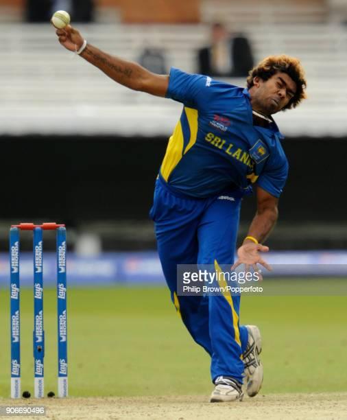 Lasith Malinga bowling for Sri Lanka during the ICC World Twenty20 warmup match between South Africa and Sri Lanka at Lord's Cricket Ground London...