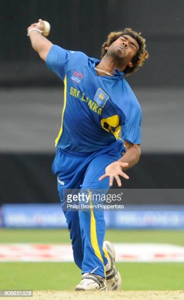 Lasith Malinga bowling for Sri Lanka during the ICC World Twenty20 group match between Sri Lanka and West Indies at Trent Bridge Nottingham 10th June...