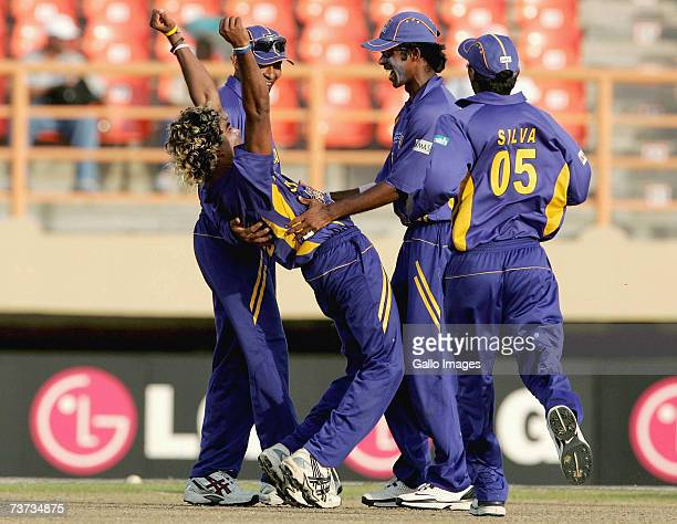 Lasith Malinga celebrates his hat trick with the wicket of Jacques Kallis for 86 runs during the ICC Cricket World Cup Super Eights match between...