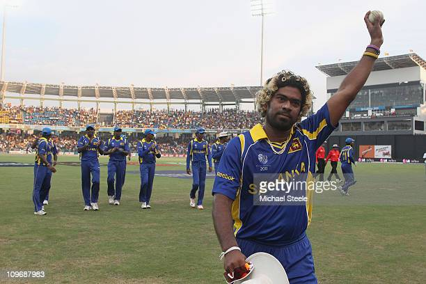 Lasith Malinga of Sri Lanka acknowledges the crowd after taking 638 during the Kenya v Sri Lanka 2011 ICC World Cup Group A match at the R Premadasa...