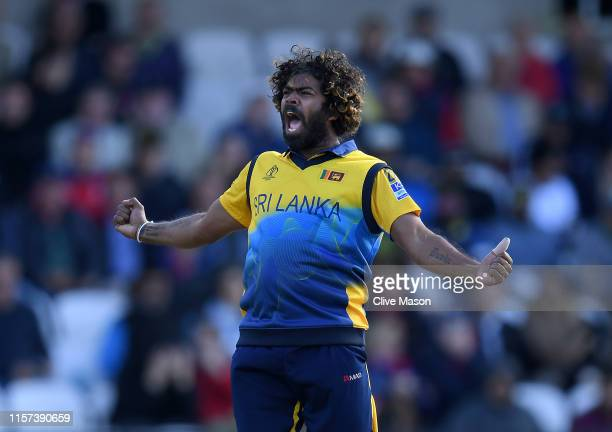 Lasith Malinga of Sri Lanka appeals succesfully for the wicket of Jos Buttler of England during the Group Stage match of the ICC Cricket World Cup...