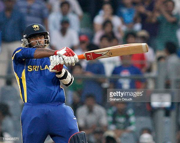 Lasith Malinga of Sri Lanka batting during the Group A ICC World Cup match between New Zealand and Sri Lanka at Wankhede Stadium on March 18 2011 in...