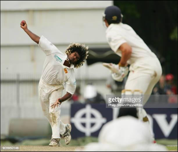 Lasith Malinga of Sri Lanka bowling to England batsman Alastair Cook during the 2nd Test match between Sri Lanka and England at the Sinhalese Sports...