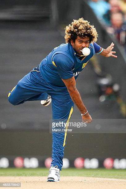 Lasith Malinga of Sri Lanka bowls during the 2015 ICC Cricket World Cup match between Sri Lanka and New Zealand at Hagley Oval on February 14 2015 in...