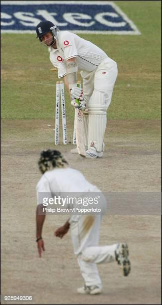 Lasith Malinga of Sri Lanka bowls Matthew Hoggard of England to win the 1st Test match between Sri Lanka and England by 88 runs at Asgiriya Stadium...