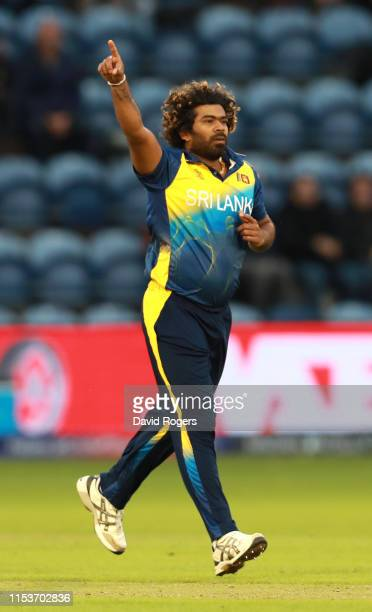 Lasith Malinga of Sri Lanka celebrates after bowling Dawlat Zadran during the Group Stage match of the ICC Cricket World Cup 2019 between Afghanistan...