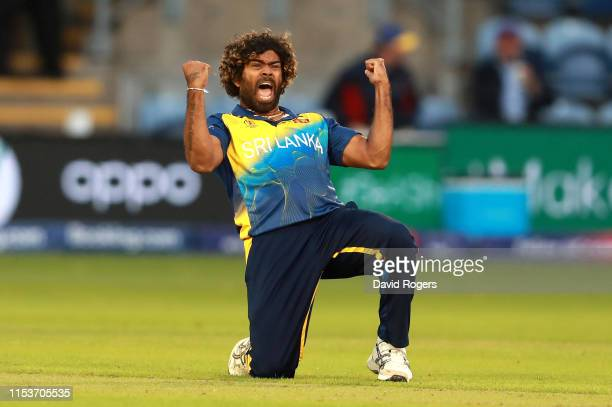 Lasith Malinga of Sri Lanka celebrates after bowling Hamid Hassan to win the match during the Group Stage match of the ICC Cricket World Cup 2019...