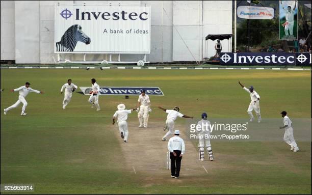Lasith Malinga of Sri Lanka celebrates after bowling Matthew Hoggard of England to win the 1st Test match between Sri Lanka and England by 88 runs at...