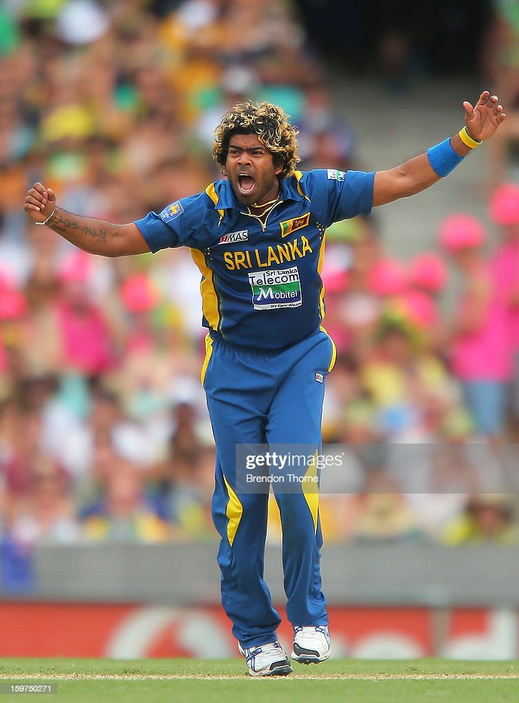 Lasith Malinga of Sri Lanka celebrates after claiming the wicket of Mitchell Johnson of Australia during game four of the Commonwealth Bank one day international series between Australia and Sri Lanka at Sydney Cricket Ground on January 20, 2013 in Sydney, Australia.