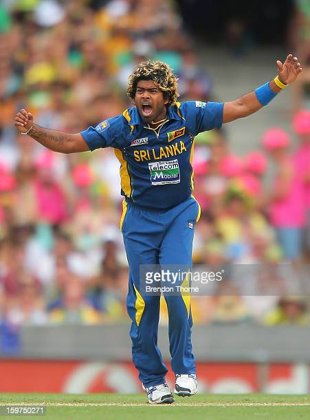 Lasith Malinga of Sri Lanka celebrates after claiming the wicket of Mitchell Johnson of Australia during game four of the Commonwealth Bank one day...