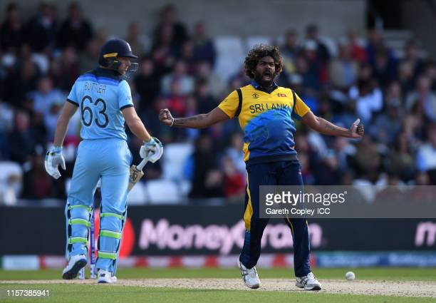 Lasith Malinga of Sri Lanka celebrates after taking the wicket of Jos Buttler of England during the Group Stage match of the ICC Cricket World Cup...