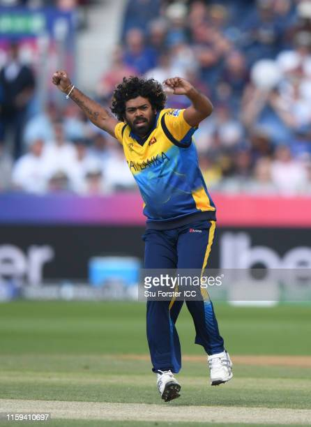 Lasith Malinga of Sri lanka celebrates after taking the wicket of Sunil Ambris of West Indies during the Group Stage match of the ICC Cricket World...