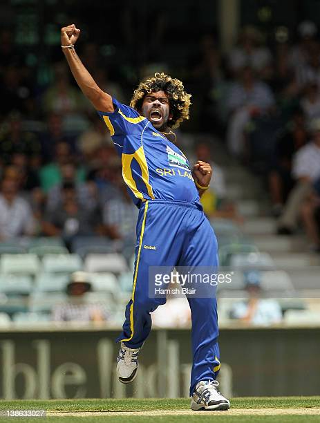 Lasith Malinga of Sri Lanka celebrates after taking the wicket of Ricky Ponting of Australia during game three of the One Day International series...