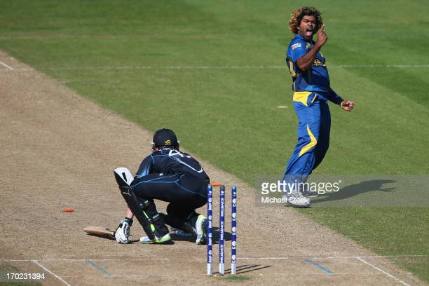 Lasith Malinga of Sri Lanka celebrates bowling Brendon McCullum of New Zealand during the Group A ICC Champions Trophy match between Sri Lanka and...