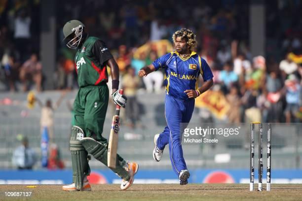 Lasith Malinga of Sri Lanka celebrates bowling Collins Obuya during the Kenya v Sri Lanka 2011 ICC World Cup Group A match at the R Premadasa Stadium...