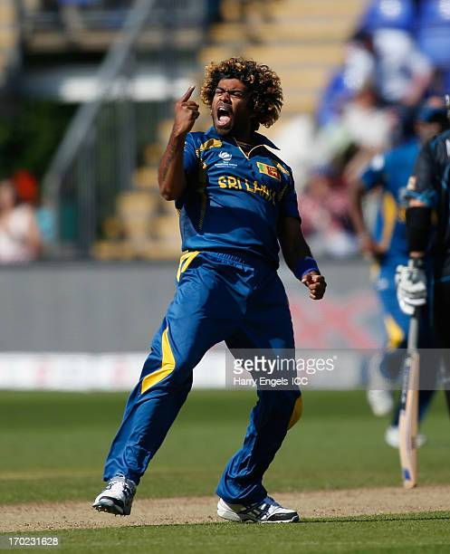Lasith Malinga of Sri Lanka celebrates dismissing Brendon McCullum of New Zealand during the ICC Champions Trophy group A match between Sri Lanka and...