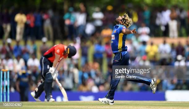 Lasith Malinga of Sri Lanka celebrates dismissing England captain Eoin Morgan during the 2nd One Day International match between Sri Lanka and...