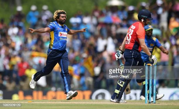 Lasith Malinga of Sri Lanka celebrates dismissing Liam Dawson of England during the 2nd One Day International match between Sri Lanka and England at...