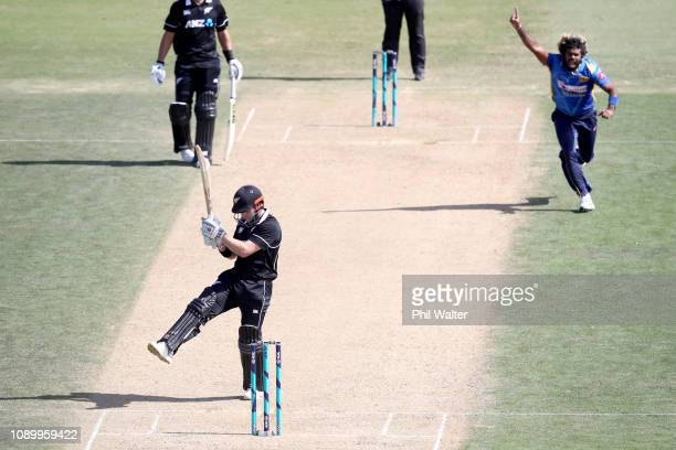 Lasith Malinga of Sri Lanka celebrates his wicket of Henry Nicholls of the New Zealand Blackcaps during game two in the One Day International series...