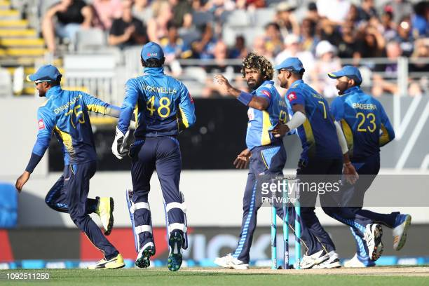 Lasith Malinga of Sri Lanka celebrates his wicket of Martin Guptill of the New Zealand Black Caps during the International Twenty20 match between New...