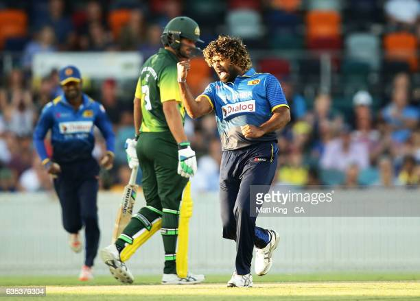 Lasith Malinga of Sri Lanka celebrates taking the wicket of D'Arcy Short of the Australian PMXI during the T20 warm up match between the Australian...